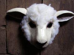 Masquerade mask paper mache mask sheep mask animal by EpicFantasy