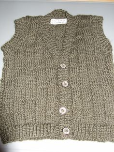100% Wool Hand Knitted Baby Boys Vest Khaki by MakeStitchKnit