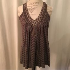 Anthropologie language size XS Grey knit print with silver embroidery and beading around neckline. Fits like a small, bigger XS Anthropologie Tops Tank Tops