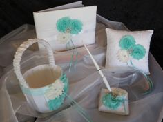 Wedding Set, Wedding Basket, Wedding Pillow, Wedding Guest Book, Wedding Pen, Shabby Chic Style Wedding Set. by TheMomentWeddingBout on Etsy