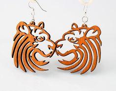 Tiger Earrings  laser Cut Wood by GreenTreeJewelry on Etsy, $12.95
