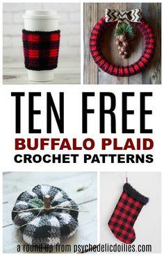 These awesome lumberjack check patterns all free and full of fall spirit! These awesome lumberjack check patterns all free and full of fall spirit! Holiday Crochet, Crochet Gifts, Diy Crochet, Crochet Ideas, Crochet Doilies, Crochet Snowflakes, Plaid Crochet, Crochet Beanie, Crochet Stitches Patterns