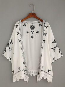 White Scalloped Crochet Trimmed Embroidered Kimono