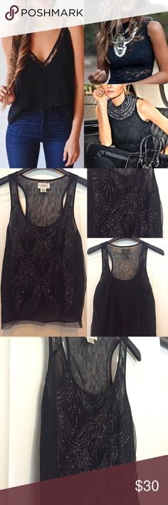 Ralph Lauren embellished tank Beautiful RL Denim &. Supply tank. See through black with a beautiful adornment to the front. Glamorous for a night out-sophisticated for work with a blazer! Ralph Lauren Tops Tank Tops
