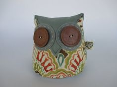 Items similar to Fabric Doorstop, Orange and Blue Heavy Doorstop, Fall-Colored Owl Pattern Door Stopper on Etsy Owl Doorstop, Whale Pattern, Door Stopper, Owl Patterns, White Leaf, Autumn Theme, Stitching, Cotton Fabric, Felt