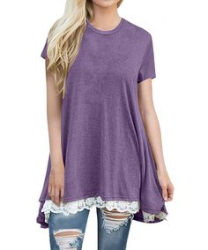 332d50a1609dbe Womens Short Sleeve Casual Round Neck Loose A-Line Lace Tunic Top Blouse T- Shirt - Purple - CT18C8OCXQG