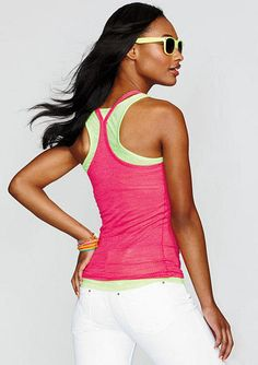 Solid burnout tank with extreme racerback. $5.99