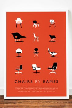 Weavers-of-southsea-Eames-Mid Century Modern Chairs Art Print @ Etsy. Love the orange...or is that red background?