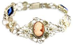 Filigree Cameo & Rhinestone Bracelet