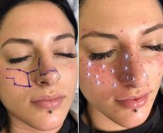 Freckles have been a huge trend in beauty this year. There& been stick-on freckles and makeup freckles, but the latest take on the freckle trend goes above and beyond — literally. AstroFrecks, which are the creation of cosmetic tattoo artist Jessica… Sommersprossen Tattoo, Form Tattoo, Shape Tattoo, Get A Tattoo, Birthmark Tattoo, Gold Tattoo Ink, Orion Tattoo, Sparkle Tattoo, Be Still Tattoo