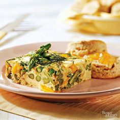 Stay full without sacrificing a ton of calories. This asparagus, zucchini, and yellow pepper frittata is heavy on the vegetables, eggs, and herbs so it can be lighter on your waistline. One serving delivers 11 grams of protein for only 160 calories. Protein count: 11 grams