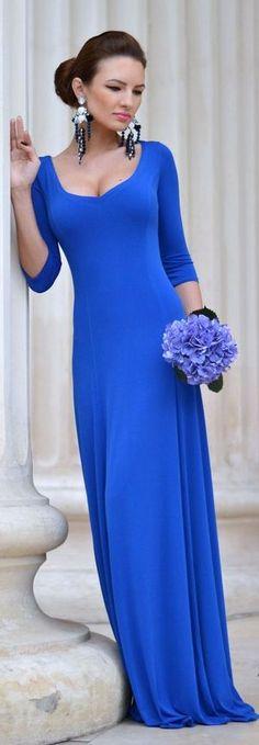 Fairytale Collection Shop Cobalt Blue Classic 3/4 Sleeve Soft Floor Length Pleats Maxi Dress by My Silk Fairytale