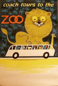 Daphne Padden Vintage Poster, Coach Tours to the Zoo, Lion