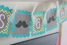 Mustache Bash Baby Shower or Birthday Chevron by DreamPartyPaperie