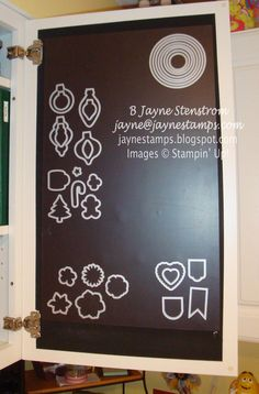~ ~ ~Jayne Stamps ~ ~ ~  Close-up of door #2.  Magnet sheets applied to the inside of my cupboard doors to keep my Edgelits and Framelits easy to access.