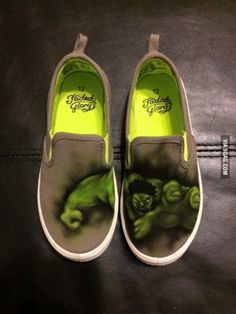 He does tattoos. His kid wanted Incredible Hulk shoes. He grabbed an airbrush and made these.