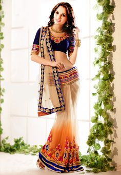 Lovely.  Shade Beige and Orange Net Lehenga Style Saree.