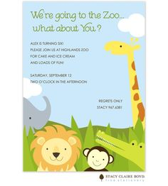 zoo party invitation. Doing a party for Myah this summer!