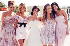 Bride with bridesmaids in lavender dresses