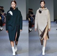 Low Classic by Lee Myung Sin 2015-2016 Fall Autumn Winter Womens Runway Catwalk Looks - Seoul Fashion Week South Korea - Patchwork Cow Camouflage Pattern Print Coatdress Fringes Chunky Knit Sweater Jumper Wide Leg Trousers Palazzo Pants Outerwear Coat Jacket Skirt Frock Stitched Edges Blouse Embroidery Landscape Raw Hem Frayed Mummy Wrap Tiered Petals Perforated Cutout Waist Hoodie Sweaterdress