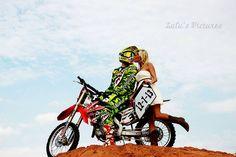 Save the date!Motocross Save the date! Motocross Wedding, Motocross Couple, Dirt Bike Wedding, Bike Couple, Country Engagement, Engagement Couple, Engagement Pictures, Wedding Engagement, Engagement Ideas