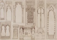 """Giclee Print: Islamic and Moorish Design for Shutters and Divans, from """"Art and Industry"""" by Jean Francois Albanis De Beaumont : Islamic Posters, Islamic Art, Architecture Portfolio, Architecture Drawings, Medieval Home Decor, Moroccan Design, Modern Moroccan, Islamic Architecture, Gothic Architecture"""