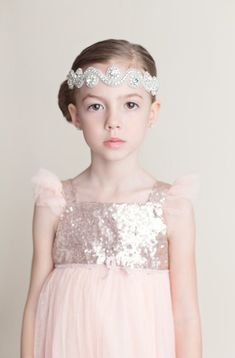 12 Adorable Flower Girl Hair Accessories - Dazzled with jewels, we love this stunning, inspired crystal-ornate headband by HarpersChicCloset. Flower Girl Headbands, Flower Girl Gifts, Flower Girl Dresses, Flower Girls, Wedding With Kids, Wedding Ideas, Wedding Blog, Diy Wedding, Wedding Stuff