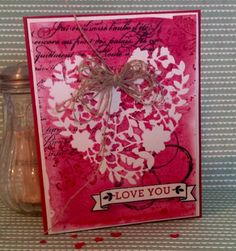 """STAMPS: Bloomin' Love and Timeless Textures. PAPER: Thick Whisper White, Real Red, Watercolor. INK: Real Red and Basic Black. OTHER: Bloomin' Heart Thinlits Dies, Big Shot, Linen Thread, Watercolor Brush or Aqua Painter, Large Number Framelits to cut banner or just """"fussy cut""""."""
