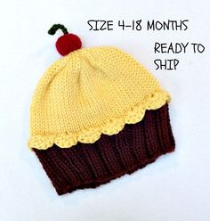 Cupcake Hat Cherry on Top Dark Chocolate Brown Cake Lemon Yellow Frosting Knit 6 8 12 18 months Children Toddler Ready to Ship by StellasKnits on Etsy