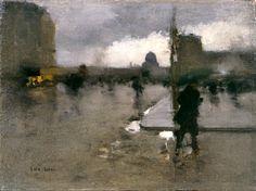 François-Joseph Luigi Loir A BOULEVARD IN PARIS ON A RAINY DAY, THE PANTHEON BEYOND