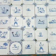 Ceramic delft tiles, various
