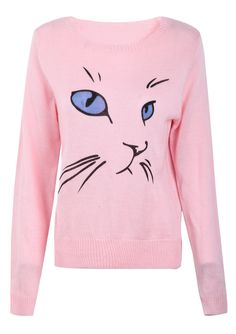 Pink Cat Face Print Round Neck Sweater US$26.39