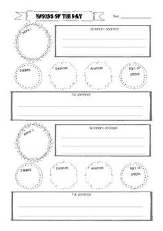 Words of the day freebie to use as a stand alone worksheet or print multiple copies to create a booklet. Word Of The Day, Teacher Resources, Booklet, Worksheets, Education, Create, Words, Literacy Centers, Onderwijs