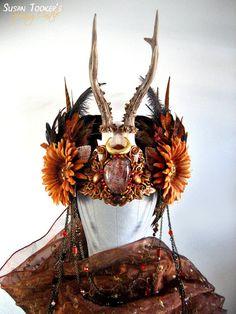 Autumn Antler Headdress Ritual Crown Bohemian Tribal Gypsy Offbeat Wedding Pagan Deer Skull HARVEST GODDESS by Spinning Castle. $860.00, via Etsy.