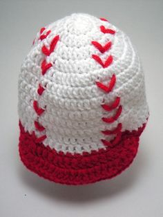 Crochet Baby Baseball Cap Newsboy Hat Red and by crochetbypamela