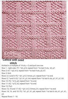 Lattice With Seed Stitch Free Knitting Pattern - Knitting Kingdom # gitter mit samenstich free knitting pattern - knitting kingdom # en tricot avec motif de point de semence gratuit - royaume de tricot Knitted Squares Pattern, Knitted Washcloth Patterns, Knitting Squares, Knitted Washcloths, Dishcloth Knitting Patterns, Knit Dishcloth, Baby Blanket Knitting Pattern Free, Free Pattern, Knitted Baby Blankets