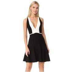 Giambattista Valli V Neck Dress ($1,930) ❤ liked on Polyvore featuring dresses, fit and flare dress, v-neck dresses, two tone dress, giambattista valli dress and v neckline dress