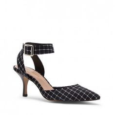"""Women's Black White Fabric 2 1/2 Inch D'orsay Heel   Olyvia by Sole Society. Pointed toe D'orsay mid-heel in genuine suede with adjustable ankle strap and buckle detail. Fabric, heel height: 2 1/2"""", Fit: True to size. Color choices: Black/White (shown), Acorn, Black, Black Leather, and Metal Grey."""