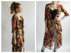 90s Kimono Cardigan Burnout Floral S Sheer by wildthingvintage
