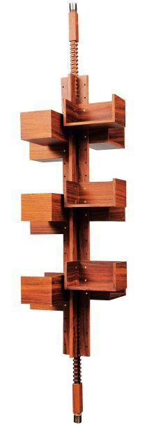 Gianfranco Frattini Attributed, Floor-to-Ceiling Adjustable Shelving Unit, c1960.