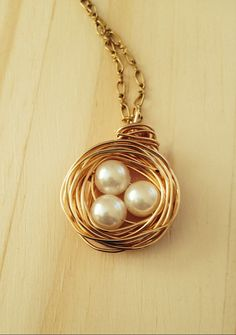 Pearl Pendant, Wire Wrapped Pearl Necklace, Pearl Nest Jewelry - pinned by pin4etsy.com