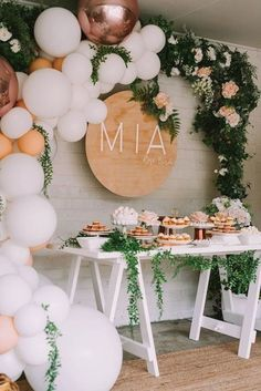 Mia's Rose Gold Garden Party HOORAY! Mag Balloon Garland Floroal Installation Floral Garland Foil Balloon Pastel Balloons Smash Cake First Birthday Party Dessert Table Wood Board Signage Birthday Party Desserts, First Birthday Parties, First Birthdays, Cake Birthday, First Birthday Balloons, Dessert Table Birthday, Birthday Diy, Baby Girl Birthday, Gold Birthday Party