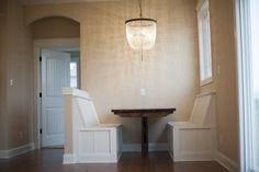 Custom Built-In Bench Seat in a Steiner Homes Ranch Plan, the Larson.  #bench #customtrim #floorplan #newhome #homes #kitchen