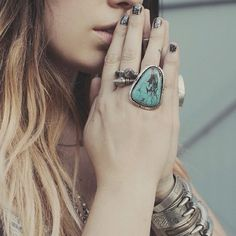 spellandthegypsycollective:    @pursenboots smoke'n in our Turquoise Mountain Ring (and not sure who that cuff is by but holy s#%¥ it's hot!!) (Taken with Instagram)