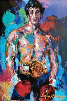 Rocky Balboa - LeRoy Neiman   Epic painting! I remember when he would do paintings while sitting ringside!