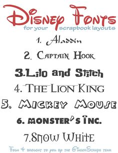 Disney Fonts http://everydaywindshield.com/5-free-fonts-vol-3-disney/?pp=1