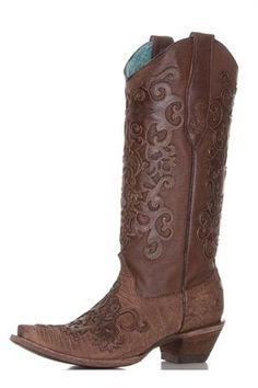 Amazing Corral Distressed Brown Cowgirl Boots featuring incredible overlay and snip toe. Wear these boots with a dress or shorts to show off these tops. Brown Cowgirl Boots, Western Boots, Country Boots, Horse Boots, Corral Boots, Western Wear For Women, Fashion Boots, Me Too Shoes, Heeled Boots