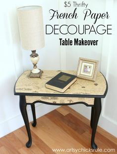 Pretty French paper decoupage Table with black paintwork. Decoupage Furniture, Refurbished Furniture, Repurposed Furniture, Furniture Projects, Furniture Making, Furniture Makeover, Painted Furniture, Diy Furniture, Decoupage Coffee Table