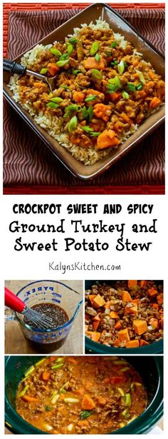 If you're looking for something new to make in the slow cooker, this CrockPot Sweet and Spicy Ground Turkey and Sweet Potato Stew with Coconut Milk is delicious! [found on KalynsKitchen.com]