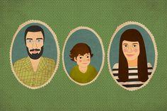 Mi familia. Family portrait .Custom cartoon portrait. Custom family portrait. Framed Print. via Etsy